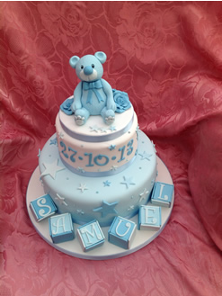 Boys Blue Tiered Christening Cake
