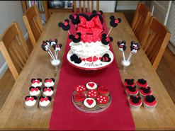 Mini Mouse Cupcakes and Cake on a Party Dessert Table