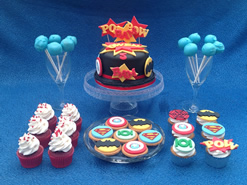 Superhero Cake and Cupcakes for a Dessert Table