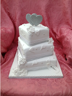 Square 3 Tier Wedding Cake with Hearts