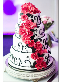 Four Tier Wedding Cake with Red Roses