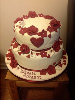 2 Tier Wedding Cake with Roses and Hearts