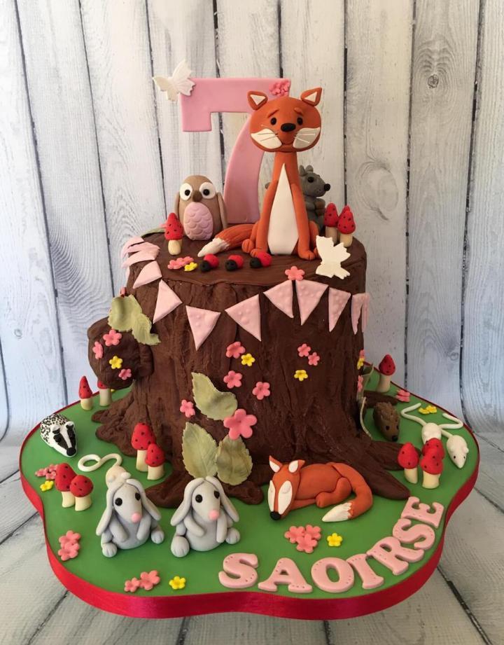 Woodland Animals Birthday Cake