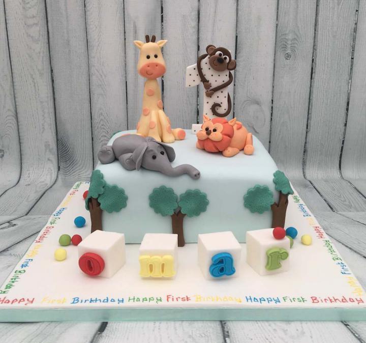 1st Birthday Cake Decorated with Animals