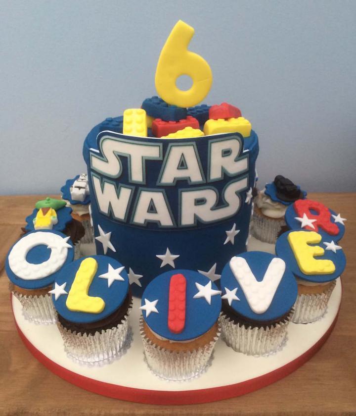 Star Wars Birthday Cake and Cupcakes