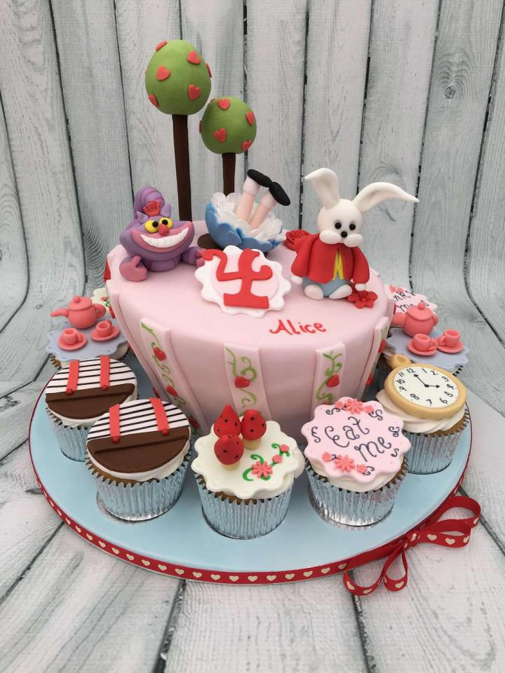 Alice in Wonderland Birthday Cake with Cupcakes