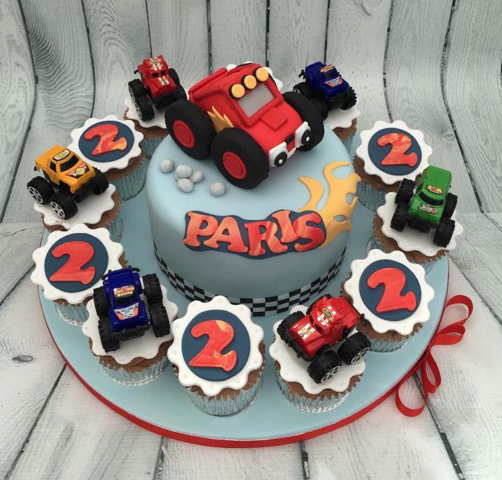 Monster Trucks Birthday Cake and Cupcakes