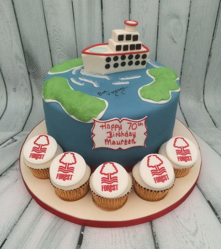Nottingham Forest Cupcakes and Cruise Celebration Cake