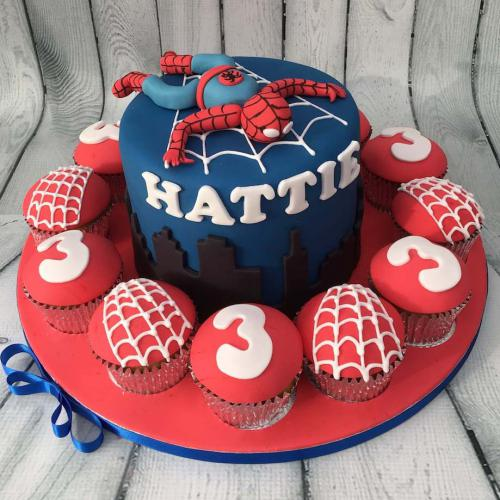 Spiderman Cake and Cupcakes