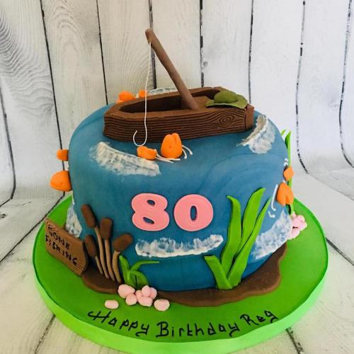 80th Birthday Cake with a Fishing Theme