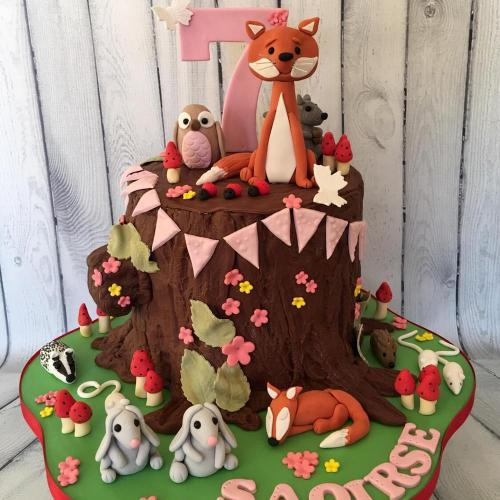 Woodland Animals Birthday Cake