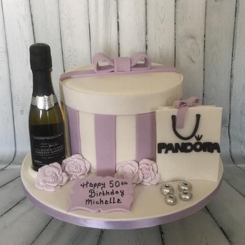 Prosecco and Pandora Birthday Cake