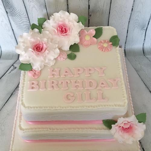 Two Tiered Square Birthday Cake