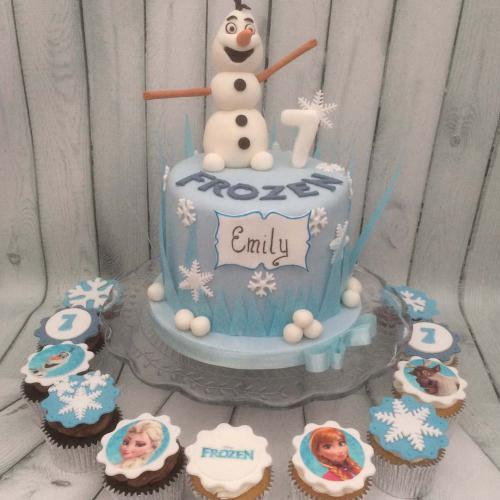 Frozen Birthday Cake and Cupcakes