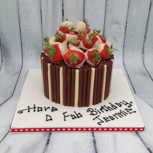 Strawberries and Cream Birthday Cake