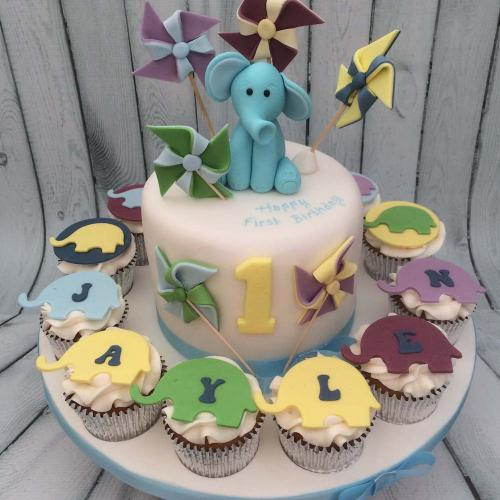 First Birthday Cake with Cupcakes