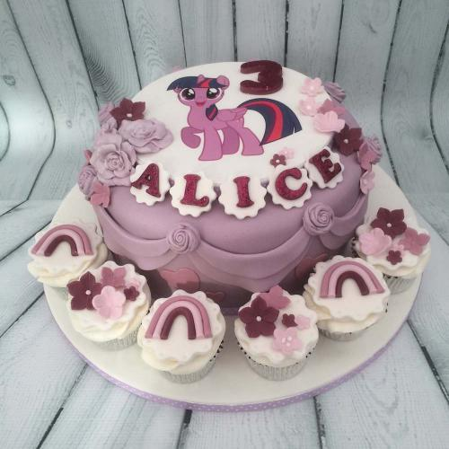 My Little Pony Birthday Cake and Cupcakes