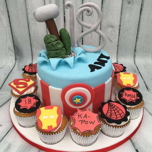 Marvel Comics Birthday Cake and Cupcakes