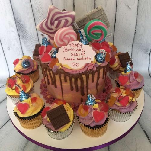 Sweets and Lollipops Birthday Cake and Cupcakes